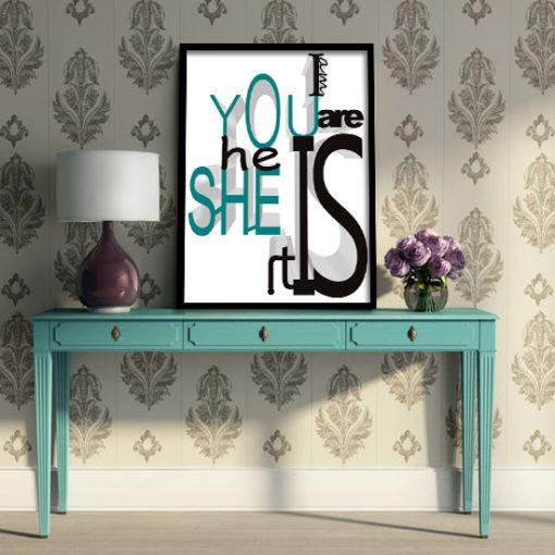 plakat z kolorem turkusowym