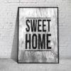 czarno-biała grafika z napisem sweet home