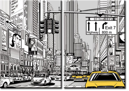 plakat z taksówką
