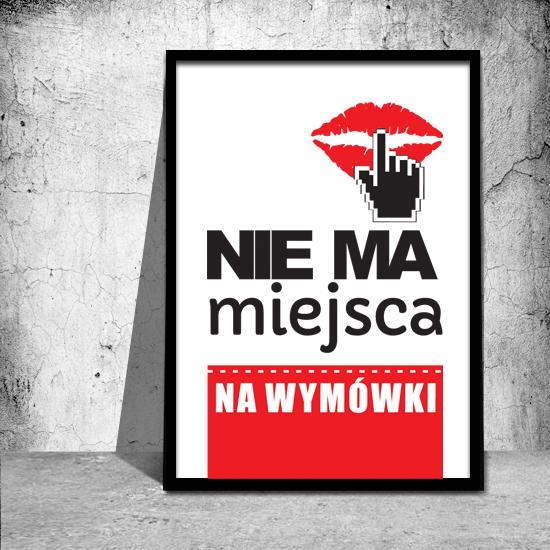 plakaty z czerwonymi napisami