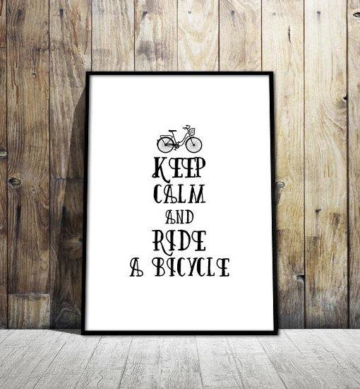 plakat z napisami rower