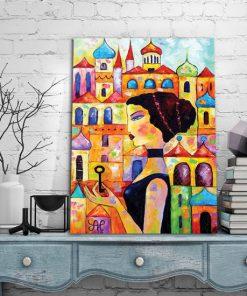 plakat kobieta i kolorowe miasto