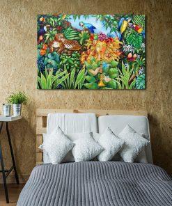 plakat jak malowany dziewczyna i zwierzęta
