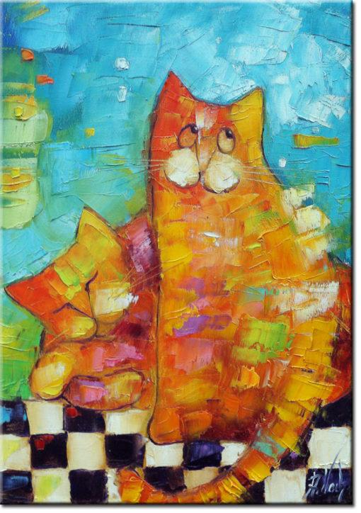 plakat z malowanymi kotami