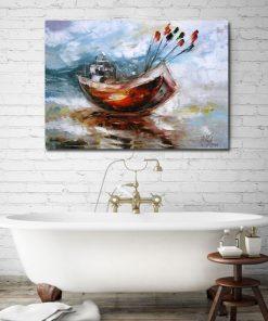 plakat jak malowany łódź na wodzie