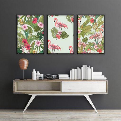 plakat z różowymi ptakami