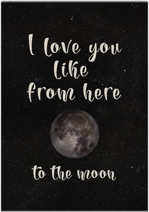 plakat z księżycem i napisem