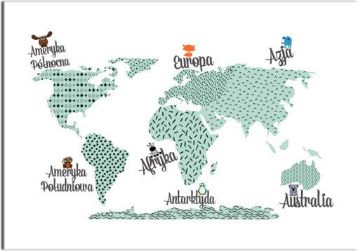 plakaty z kontynentami