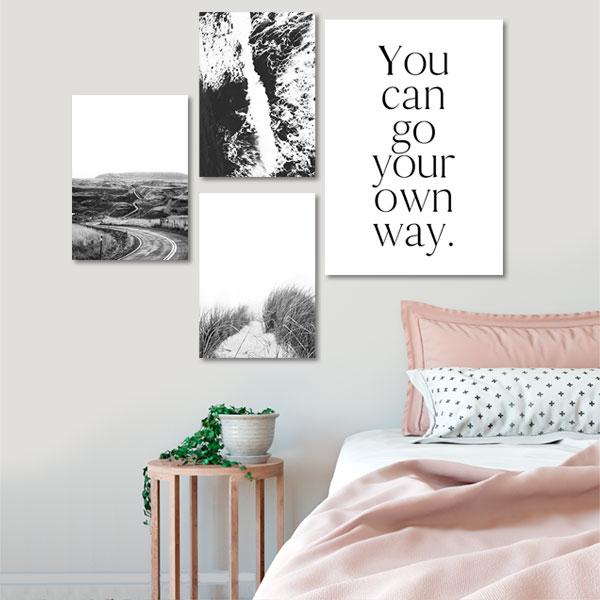 Plakaty W Kolażu Czarno Białe Fotografie I Napis