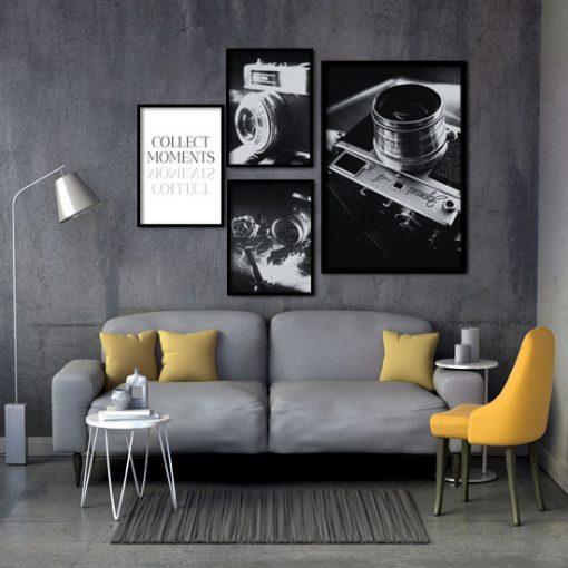 plakaty z aparatami czarno-białe