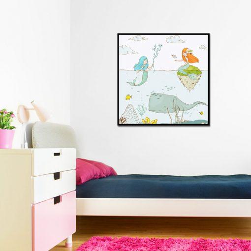 Plakat z motywem syrenek do pokoju dziecka