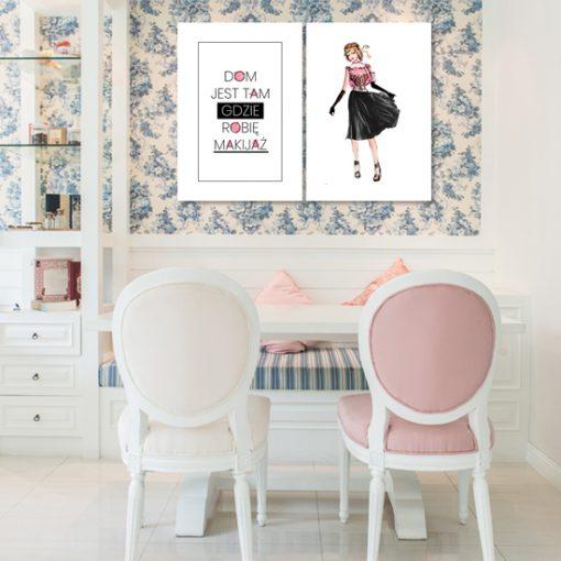 salon z plakatem o makijażu