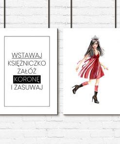 Plakat z ilustracją dziewczyny i napisem