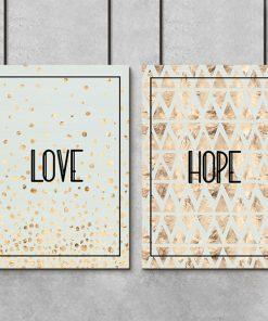 Plakat w zestawie z napisem love i hope
