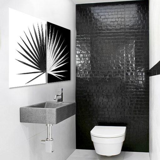 Czarno-biały plakat dyptyk do toalety
