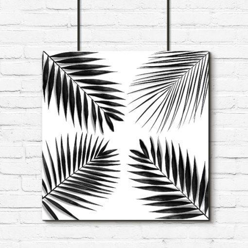 Czarno-biały plakat tropikalny