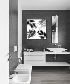 Plakat z motywem tropikalnych liści do łazienki