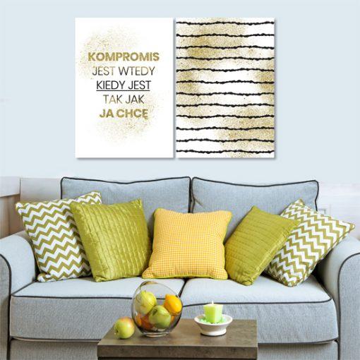Plakat podwójny z napisem do salonu
