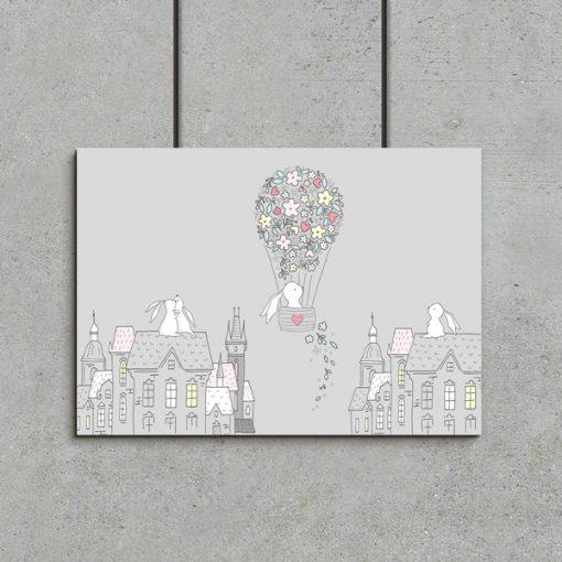 Plakat dziecięcy z motywem króliczków