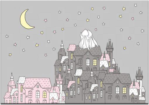 Plakat szary z motywem bajkowego miasteczka i króliczków