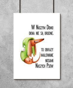 Plakat z ilustracją psa i napisem
