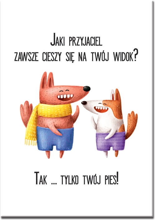 Plakat z motywem psów i napisem