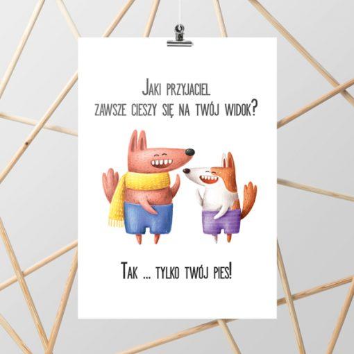 Plakat z cytatem o psie