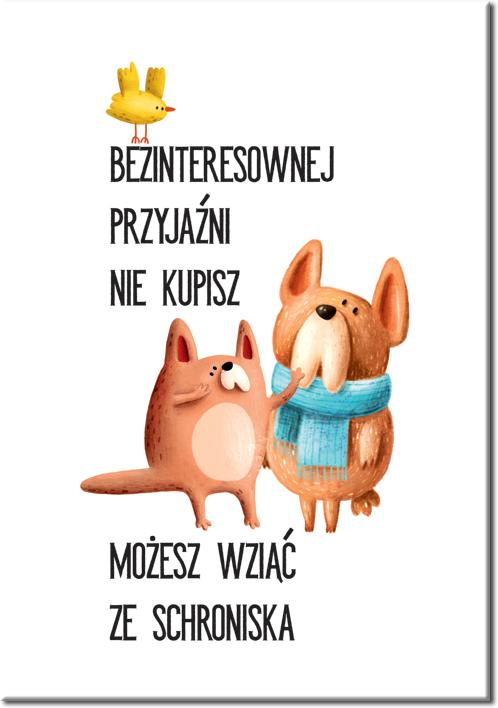 Plakat z ilustracją psów i napisem