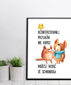 Plakat z ilustracją psów
