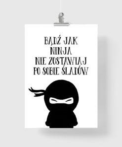 Typograficzny plakat z motywem ninja