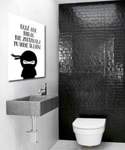 Czarno-biały plakat do toalety