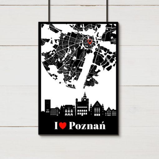 Plakat z mapką Poznania