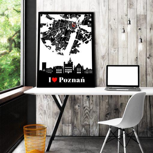 Plakat z miastem do dekoracji biura
