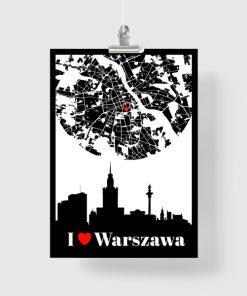 Czarno-biały plakat z motywem miasta