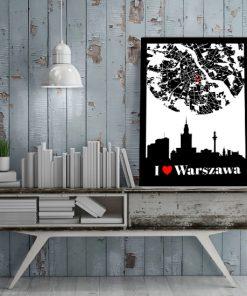 Plakat z motywem Warszawy do salonu