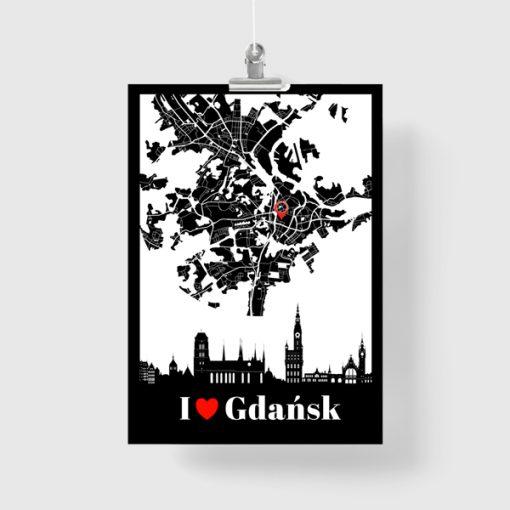 Czarno-biały plakat z polskim miastem