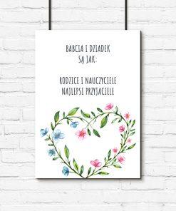 Plakat z motywem serca i wierszykiem dla babci i dziadka