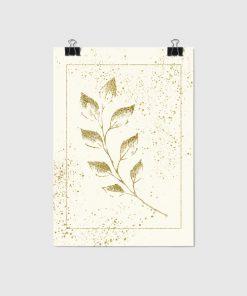 Kremowy plakat ze szkicem liścia