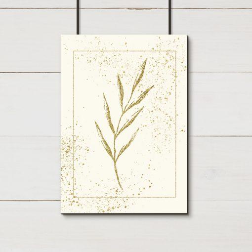 Plakat z imitacją brokatu i liściem