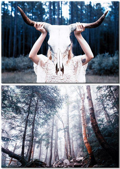 Zestaw dwóch plakatów z motywem lasu i czaszki byka
