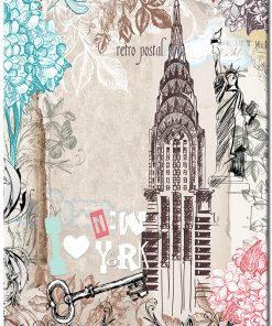 Plakat z motywem kwiatów i Nowego Jorku