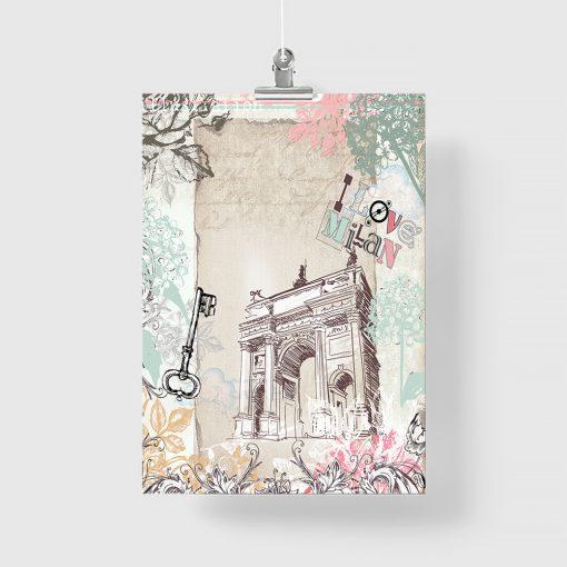 Plakat z motywem kwiatów i miasta