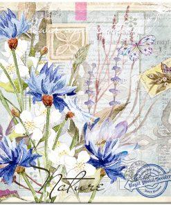 Plakat vintage z niebieskimi kwiatkami