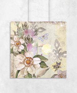 Plakat z kwiatami w sepii