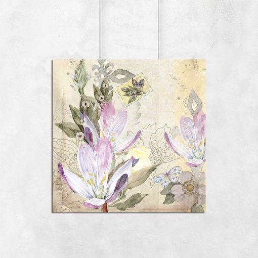 Plakat kwadratowy z fioletowymi kwiatkami
