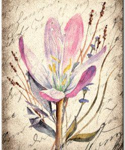 Plakat vintage z fioletowymi kwiatami