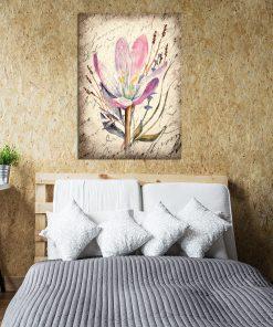 Plakat w kolorze sepii z motywem kwiatów
