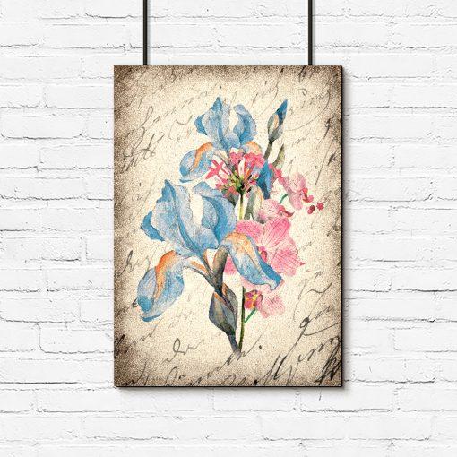 Plakat z niebieskimi kwiatami