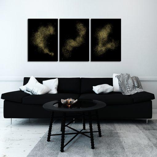 Potrójny plakat z motywem abstrakcji do salonu