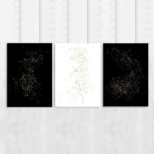 Trzy plakaty z żółtym wzorem